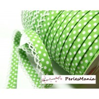 50cm ruban biais dentelle Pois Vert pomme et blanc 12mm re 71486 couleur 56