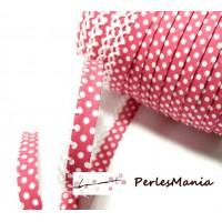 50cm ruban biais dentelle Pois Rose Fushia et blanc 12mm ref 71486 couleur 35