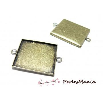 10 Supports de pendentif connecteur carré 25mm BRONZE ID31071