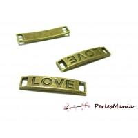 10 pendentifs breloque connecteur rectangle LOVE 2D2848 BRONZE mm