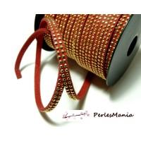 1m de cordon de suédine cloutée doré aspect Daim double rangée facettée Rouge P00514G