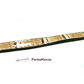50 cm de cordon cuir plat 10mm VERNIS TON BEIGE ref 244