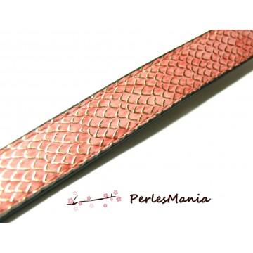20 cm de cordon cuir plat 18mm Imitation ECAILLE Rose ref 247